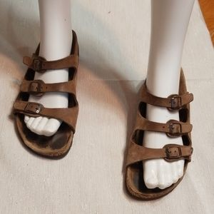 BIRKENSTOCK💟Florida Triple Strap Leather Sandals